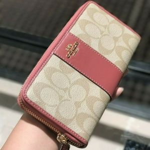 Coach Zip Wallet Signature Canvas Khaki/Rouge